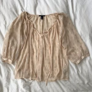 Sheer Blouse With Metallic Gold Print And Tie